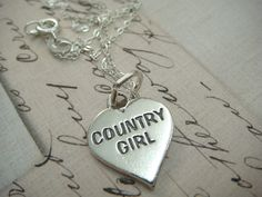 country girl quotes | Hand Stamped Heart Series - COUNTRY GIRL - Sterling Silver Charm