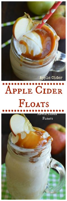 Apple Cider Floats with a little salted caramel on top!  Little Dairy on the Prairie
