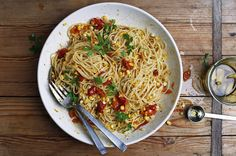 Pasta with Corn, Slow-Cooked Tomatoes, and Garlic Confit, a recipe on Food52