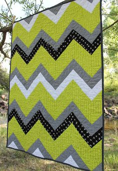 Stitchery Dickory Dock: Quilts chevron stripe in lime, grey black and white.