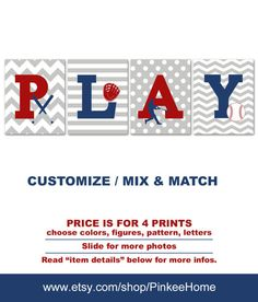 PLAY Baseball Toddler Art Playroom Wall Sports Kids Room