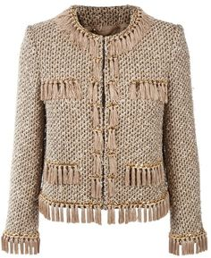 Moschino Jackets for Women Crochet Tunic, Crochet Clothes, Jackets For Women, Sweaters For Women, Clothes For Women, Hand Knitted Sweaters, Tweed Jacket, Military Fashion, Moschino
