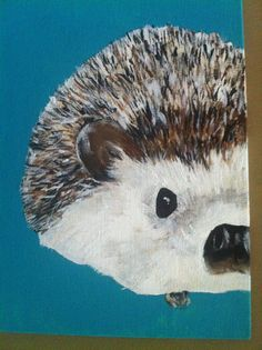 Hedgehog Portrait Acrylic Painting on Canvas OR by YaksandYams