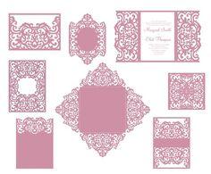 Corte del Laser Set boda plantillas puerta doble tarjeta de