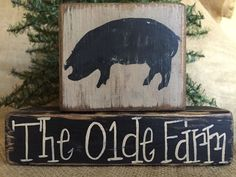 Primitive Country Pig Hog The Olde Farm Home Decor Shelf Sitter Wood Block Set #CountryPrimitiveRustic #DoughandSplintersStudio