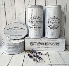 French Made tin boxes - You can paint with acrylics (black and white to get a distressed look) and reuse different sizes tin boxes. Apply waterslide decal paper…