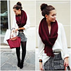 patterned skirt with black tights