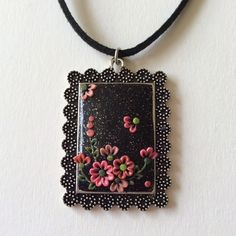 Coral and Pink Wildflower Polymer Applique Clay Pendant £7.99