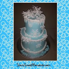 Frozen Themed cake with delicate royal icing snow flakes.