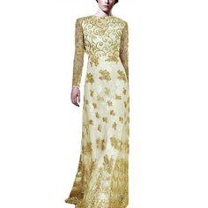 Gold Dust Arabic Maxi Vtg 20s Long Evening Bridal Formal Celebrity, Runway Dress