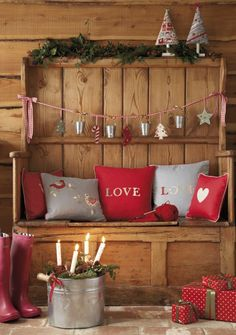 Gray and Red Christmas Decor Ideas