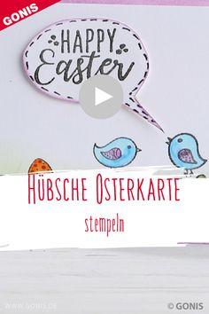 Wir zeigen euch, wie ihr ganz einfach eine #Osterkarte mit den #GONIS Happy Easter Stempeln gestaltet. Happy Easter, Home Decor, Diy, First Communion, Stamping, Crafts, Decorating, Tutorials, Happy Easter Day