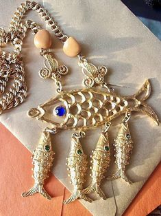 Blue Fish Pendant for DIY Necklace Red Fish Pendant Blue Fish Bead Red Crystal Fish Bead Gold Fish Bone Bead Goldfish DIY Jewelry Gift Craft