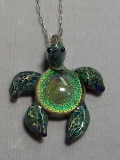 Art Glass sea turtle dichroic necklace pendant galaxy hand made 70 by TamiOconnell on Etsy