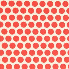 Ecru birch organic fabric from the USA.  Salmon red dots.
