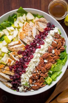 Autumn Chopped Chicken Salad will be your favorite Fall salad. Chicken Salad with pears, craisins, pecans, feta and chicken with easy balsamic vinaigrette! Can add feta cheese.