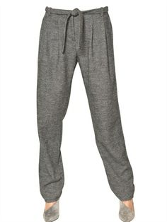 GIORGIO ARMANI / HERRINGBONE WOOL TROUSERS