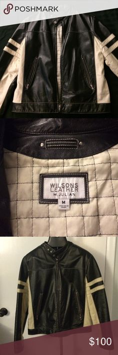 Wilsons Leather Jacket Wilsons Men's Genuine Leather Motor Biker Style Jacket, Size M, Black with Cream in color Wilsons Leather Jackets & Coats