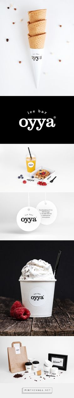 oyya - ice bar packaging branding on Behance via Skinn Branding Agency curated by Packaging Diva PD. Oyya is an ice-cream bar in the centre of Bruges where the ice cream is produced fresh every day.