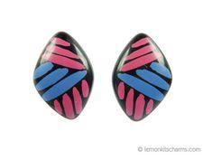 Vintage Avon 1986 Art Color Earrings Black Hot by LemonKitscharms