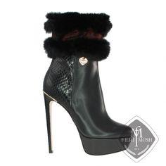 Global Wealth Trade Corporation - FERI Designer Lines Platform Ankle Boots, Shoe Boots, Shoes Heels, Metal Trim, Easy Wear, Vintage Accessories, Real Leather, Luxury Branding, Black Boots