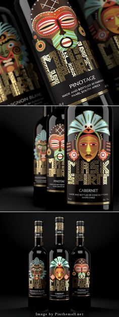 Mask Spirit. Collection of New World Wines Creative agency: BRANDIZIAC Client: VinProdService LLC Creative director: Artem Shutov Art-director: Eugeniy Kalashnikov Illustrator: Sergey Ermakov Location: Russia