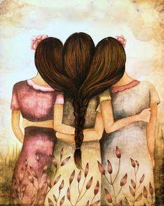 Claudia Tremblay > Tree sisters best friends with brown hair Best Friend Drawings, Bff Drawings, Sisters Art, Three Sisters, Claudia Tremblay, Mother Daughter Art, Sibling Gifts, Illustration, Vintage Art Prints