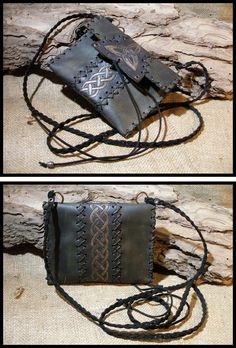 Morgenland Art Unique handmade creations get inspired from the old ages: Purse & Pouches Leather Carving, Leather Art, Saddle Leather, Leather Pouch, Leather Tooling, Leather Jewelry, Leather Purses, Vintage Diary, Boho Bags
