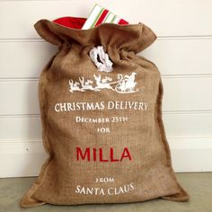 Personalised Hessian Christmas Sacks in WhiteThese large sacks are designed in Australia, use a soft high quality hessian and are screen-printed with our design.They are a great christmas gift and will look like they have just come