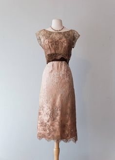 Vintage 1950s Dress 50s Ombre Lace And Satin Sequined