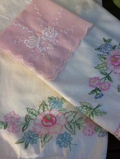 Two Vintage Pillow Cases / Crochet Edge / Floral by theStylepyle