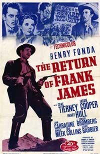 The Return of Frank James is a 1940 western film directed by Fritz Lang and starring Henry Fonda and Gene Tierney. It is a sequel to Henry King's 1939 film Jesse James. Written by Sam Hellman, the film loosely follows the life of Frank James following the death of his outlaw brother, Jesse James at the hands of the Ford brothers.