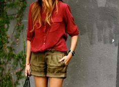 Casual wear - red blouse with kaki short