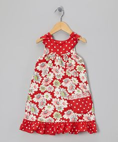 {Red Daisy Polka Dot Trapeze Dress - Toddler & Girls by Beary Basics}
