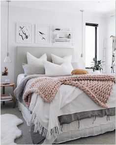 Girl Room Decor Ideas - How can I decorate my bedroom with paper? Girl Room Decor Ideas - How can I decorate my girl's bedroom on a budget? Room Ideas Bedroom, Cozy Bedroom, Home Decor Bedroom, Girls Bedroom, White Bedroom, Bedroom Furniture, Bedroom Bed, Ikea Bedroom, White Furniture