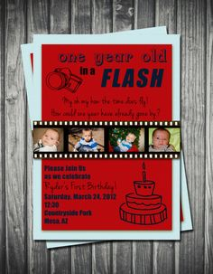 One Year in a Flash Birthday Invitation Boy Blue & Red by Sassygfx