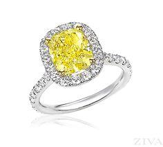 Cushion Cut Yellow Diamond Engagement Ring with Halo & Eternity Shank