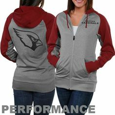 Nike Arizona Cardinals Ladies Die-Hard Full Zip Performance Hoodie - Ash/Cardinal