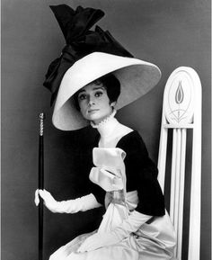 Actress Audrey Hepburn wearing costume with wide lampshade hat topped with bow and holding walking stick, all designed by Cecil Beaton for the movie musical 'My Fair Lady'. (Photo by Cecil Beaton) Audrey Hepburn Poster, Audrey Hepburn Photos, My Fair Lady, Eliza Doolittle, Photo Print, Cecil Beaton, Love Hat, British Actresses, Black White