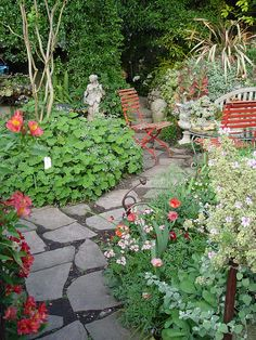 Beautiful grouping of plants and splashes of color.   (-)the messy flagstones. Kills the rest for me