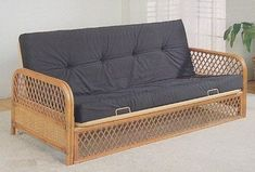 Coaster-Home-Furnishings-Futon-Sofa-Bed-in-Southwest-Lattice-Rattan-Wood-Wicker-Accents-with-Metal-Frame-Frame-Only