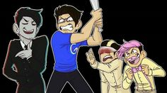 Mark's different personalities  from left to right: Darkiplier, Googleplier, The Host, Warfstache