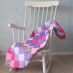 $50.00  Hand-quilted Baby Quilt, Pinks & Purples