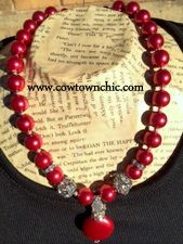 Amore Red Necklace With Bling #red #necklace #jewelry #valentine #madeintexas