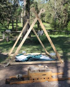 Viking Tent Timber A frame instructions included. Easy to follow.  Might follow the directions and use the pattern for the dragon heads for making a smaller version for the kids to play and use with in the backyard.