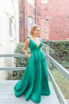 Meaghan Gibbons in Ieena for Mac Duggal - 55010i Sleek Plunging V-neck Evening/Wedding Dress (sleeveless, seams, tapering straps, V-cut open back, back zip, wide waistband, sweep train, natural waist, A-line silhouette)