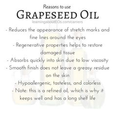 Grapeseed as Carrier Oil Essential Oil Carrier Oils, Essential Oils 101, Essential Oil Blends, Young Living Oils, Young Living Essential Oils, Borage Oil, Oil Benefits, Oils For Skin, Natural Healing