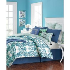 Martha Stewart Collection Adana Reversible 10-Pc. California King... ($150) ❤ liked on Polyvore featuring home, bed & bath, bedding, comforters, cal king comforter sets, green comforter, green comforter sets, blue green comforter sets and stripe comforter