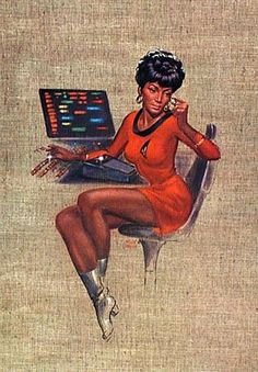 Star Trek - Kelly Freas Uhura I had Nichelle Nichols sign a print of this when I saw her at FanExpo :) Star Wars, Star Trek Tos, Star Citizen, Star Trek Wallpaper, S8 Wallpaper, Wallpapers, Nichelle Nichols, 70s Sci Fi Art, Star Trek Images