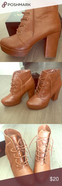 Brown Platform Ankle Boots Lace-up Platform Ankle Boots. US Size 9 MIA Girl Shoes Heeled Boots
